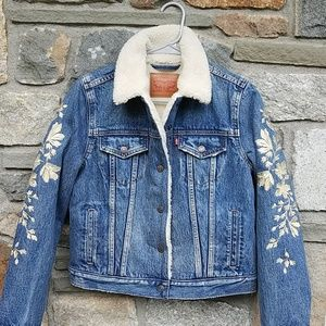 Levi's floral embroidered sherpa jean jacket